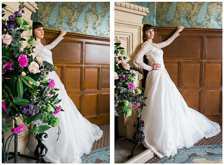 Bride in Suzanne Neville long dress and flowers by Fleur de Lis by Jenny Owens
