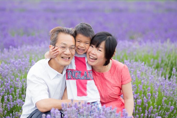 family amongst lavender fields in Alton