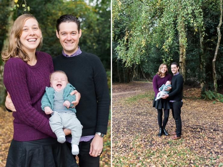 smily baby with mum and dad in the new Forest in Autumn by Jenny Owens Photography