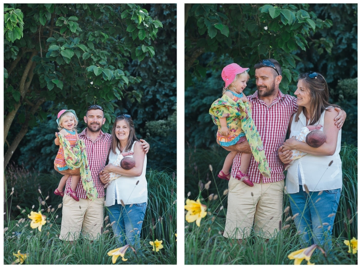 diptych of family in gardens with yellow flowers in foreground by jenny owens photography