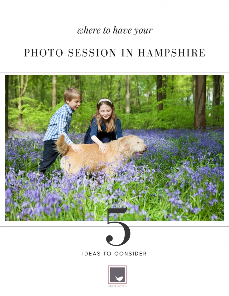 photo session location ideas with a photo ofchildren with pet dog in bluebell woods