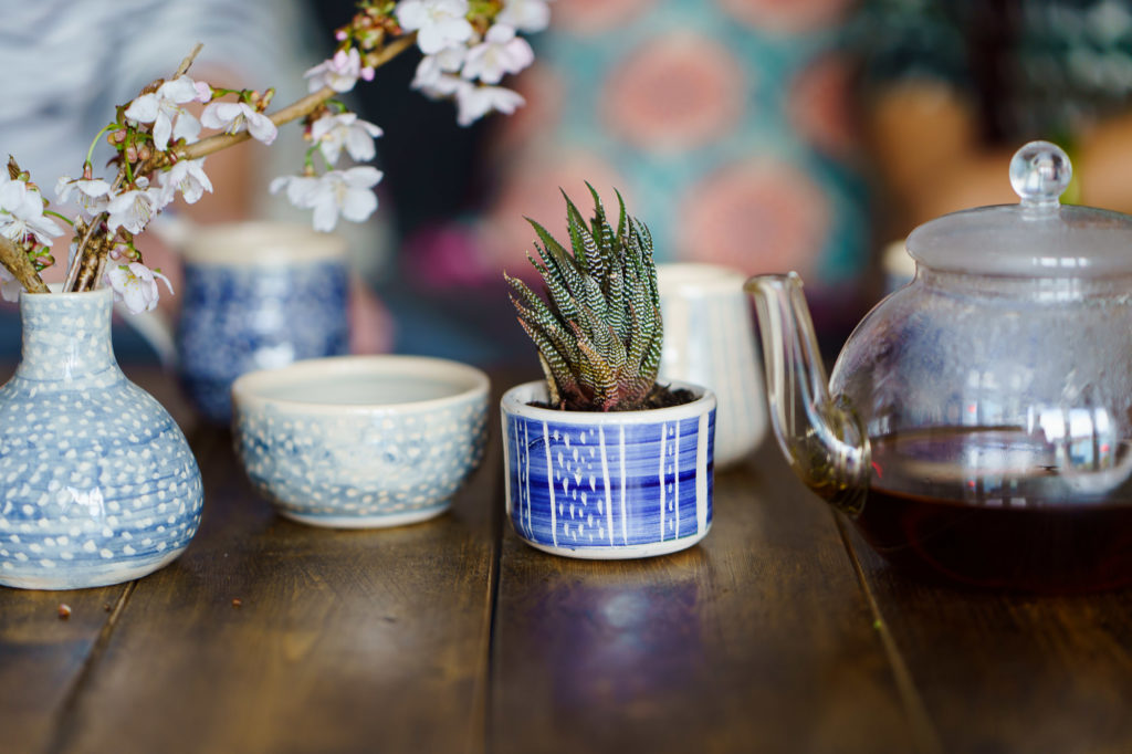 pink blossom and cacti in blue and white pots from 2spotcereamics branding editorial session