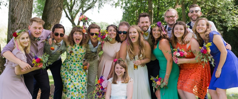 fun mixmatched bridal aprty photo in Winchester Countryside