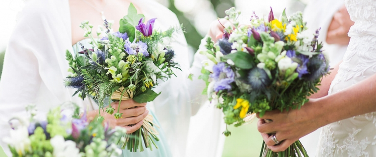 natural wedding bouquets at tipi wedding in New Forest