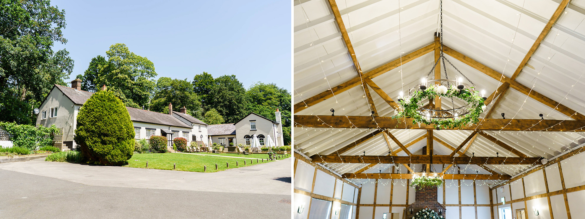 dyptich of otuside burley manor barn and inside the barn set up for wedding