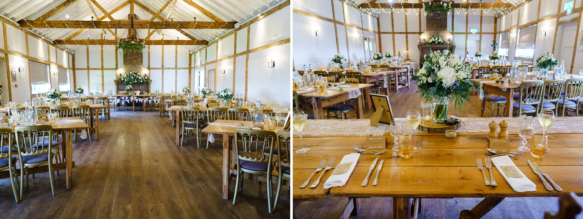 dyptich of the itnerior space of burley manor barn decorated for wedding reception dinner