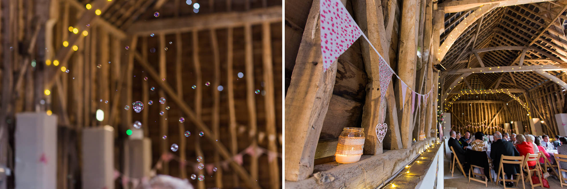 dyptich of bubbles and wedding bunting in Michelmersh barns hampshire