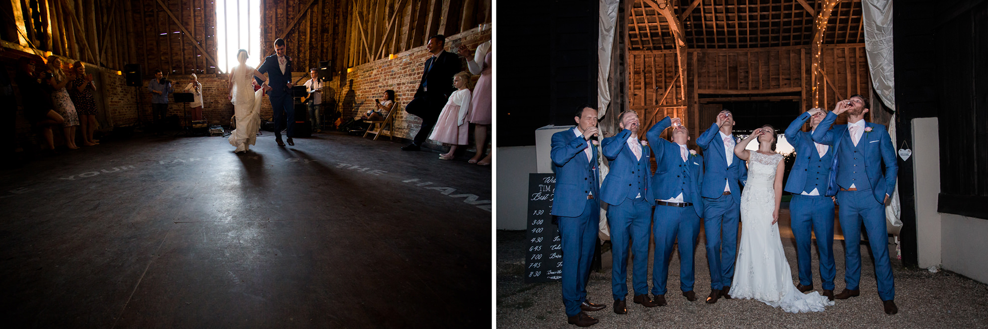 dyptich of best wedding barns in hamp[shire michelmersh barn with wedding guests outside and first dance of couple