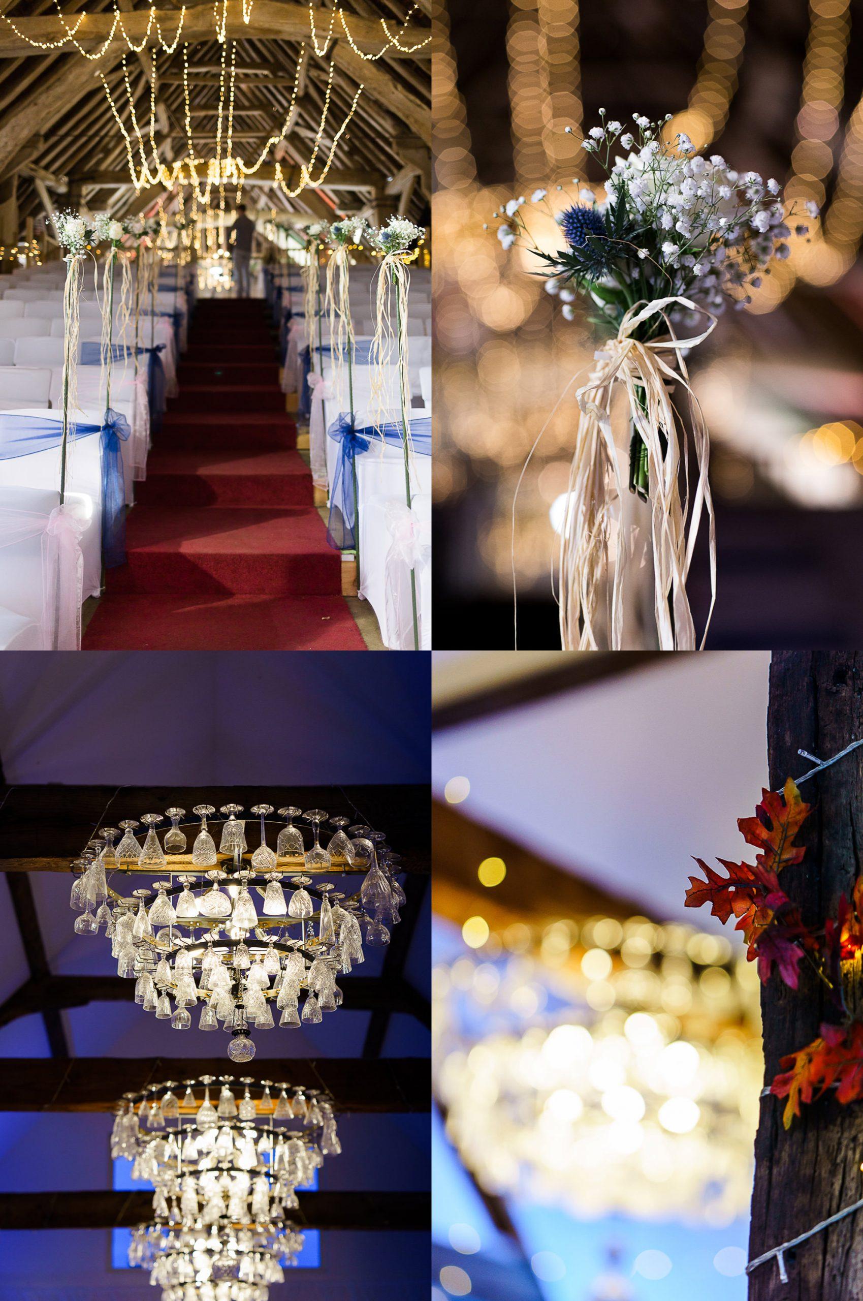 collage of details in titcfield barn wedding venue