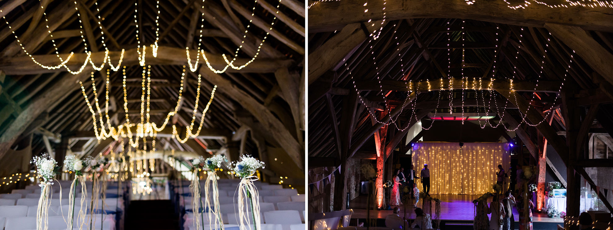 interior shots and dyptich of fairy lights at titchfield barn wedding venue