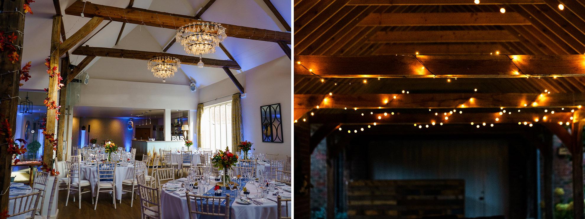 itnerior and exterior shots of lights at best wedding venue three choirs vineyard hamsphire