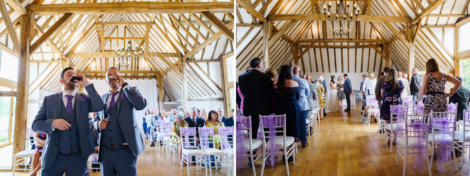 dyptich inside skylark golf course barn with wedding ceremony