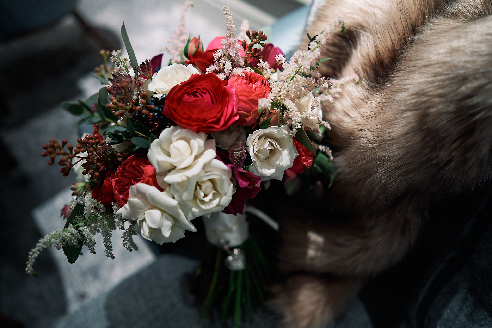 winter flowers and fur stole
