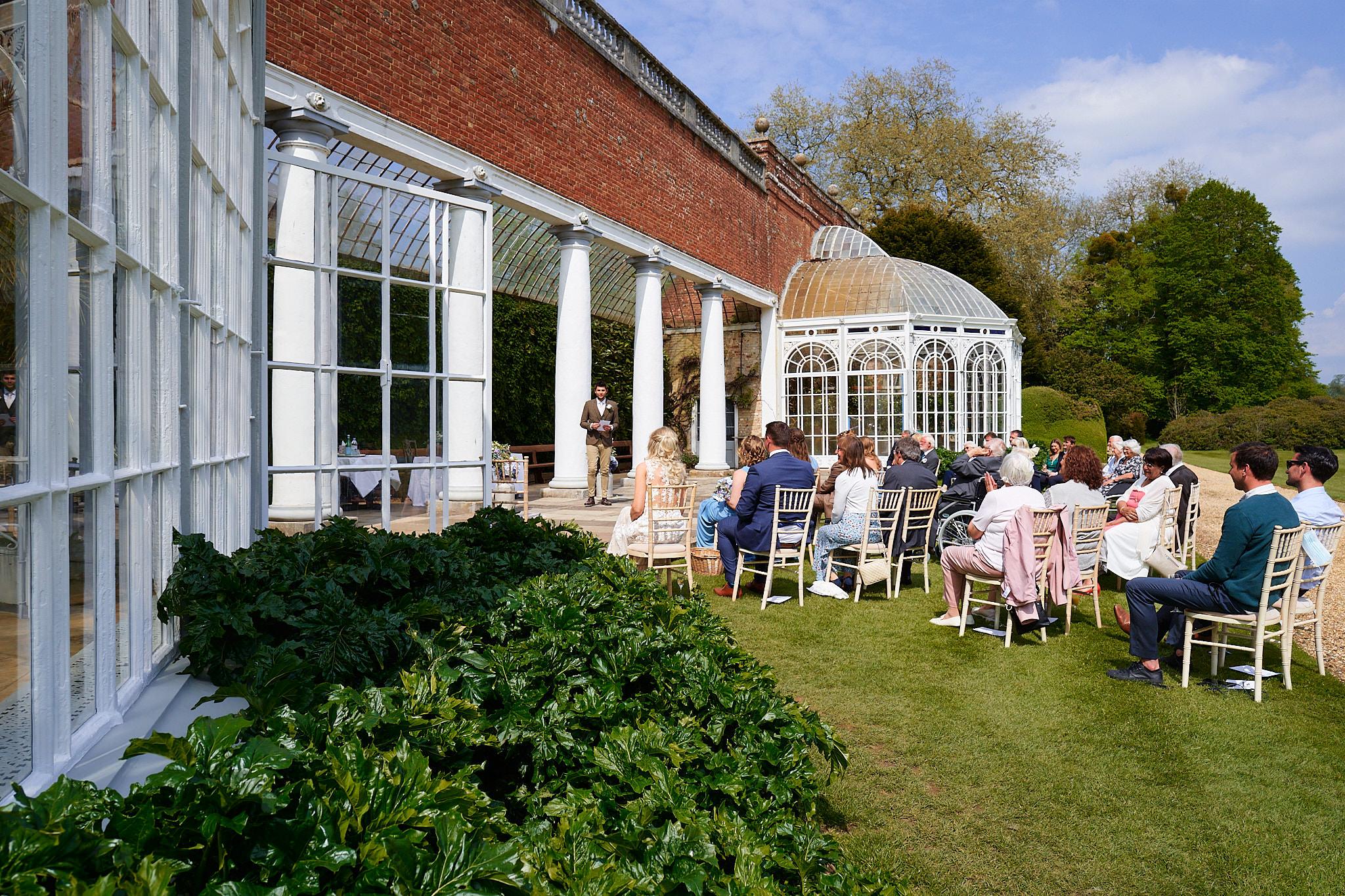 speeches outside orangey at avington park manor house