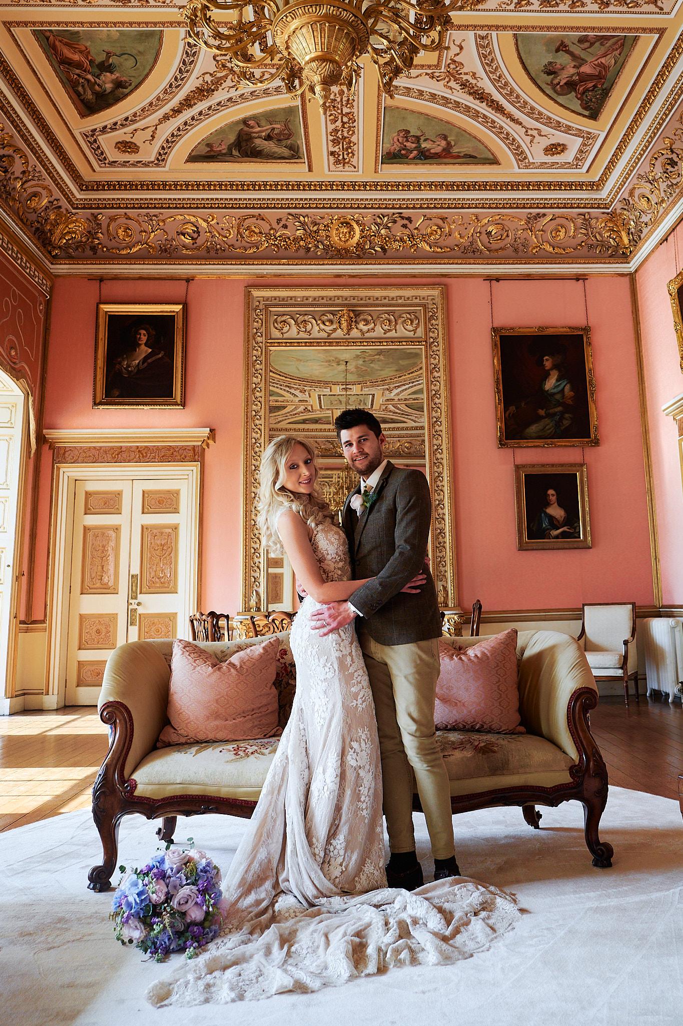 bride and groom at avington house ballroom