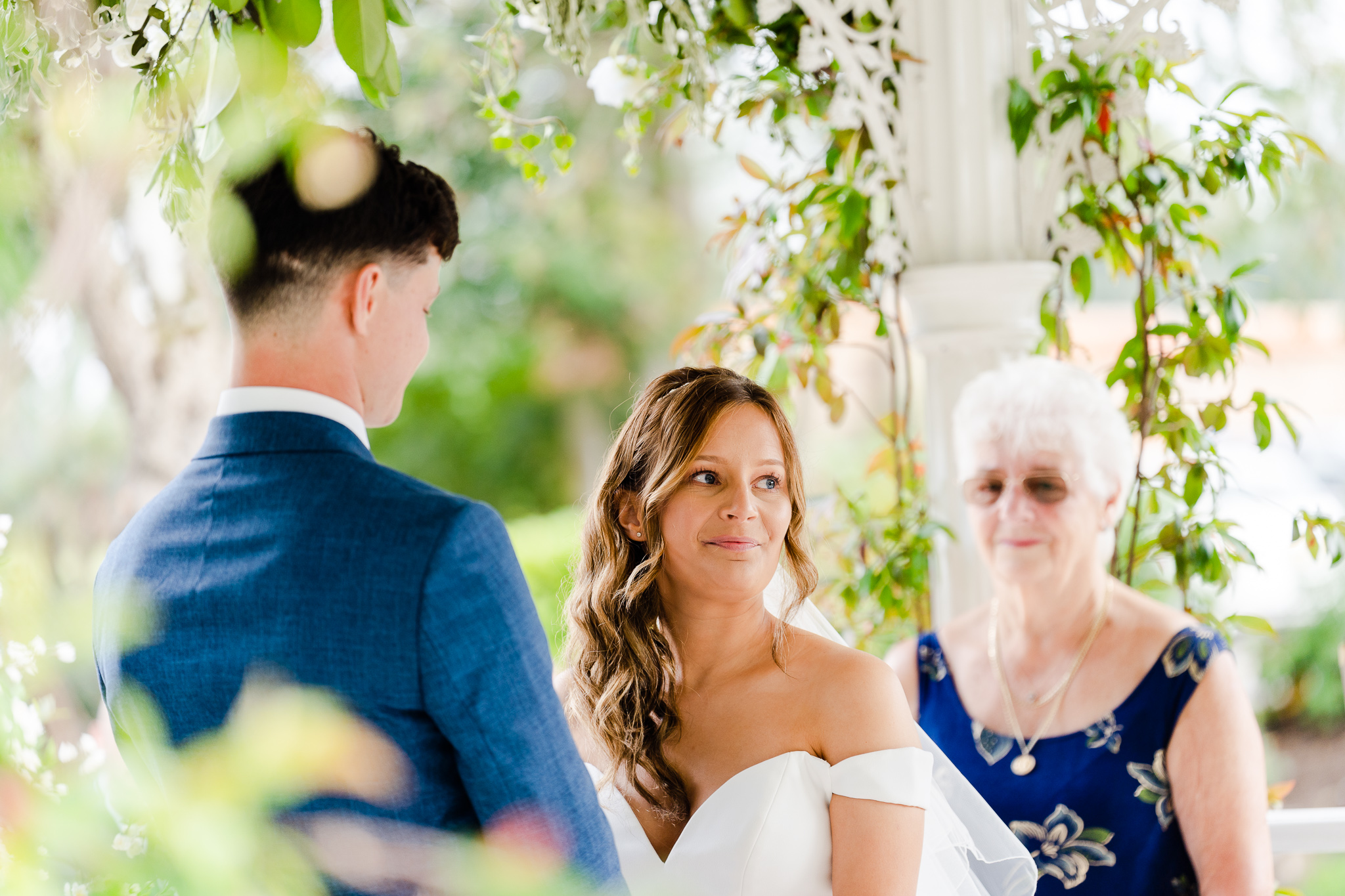 picture of bride's face during ceremony