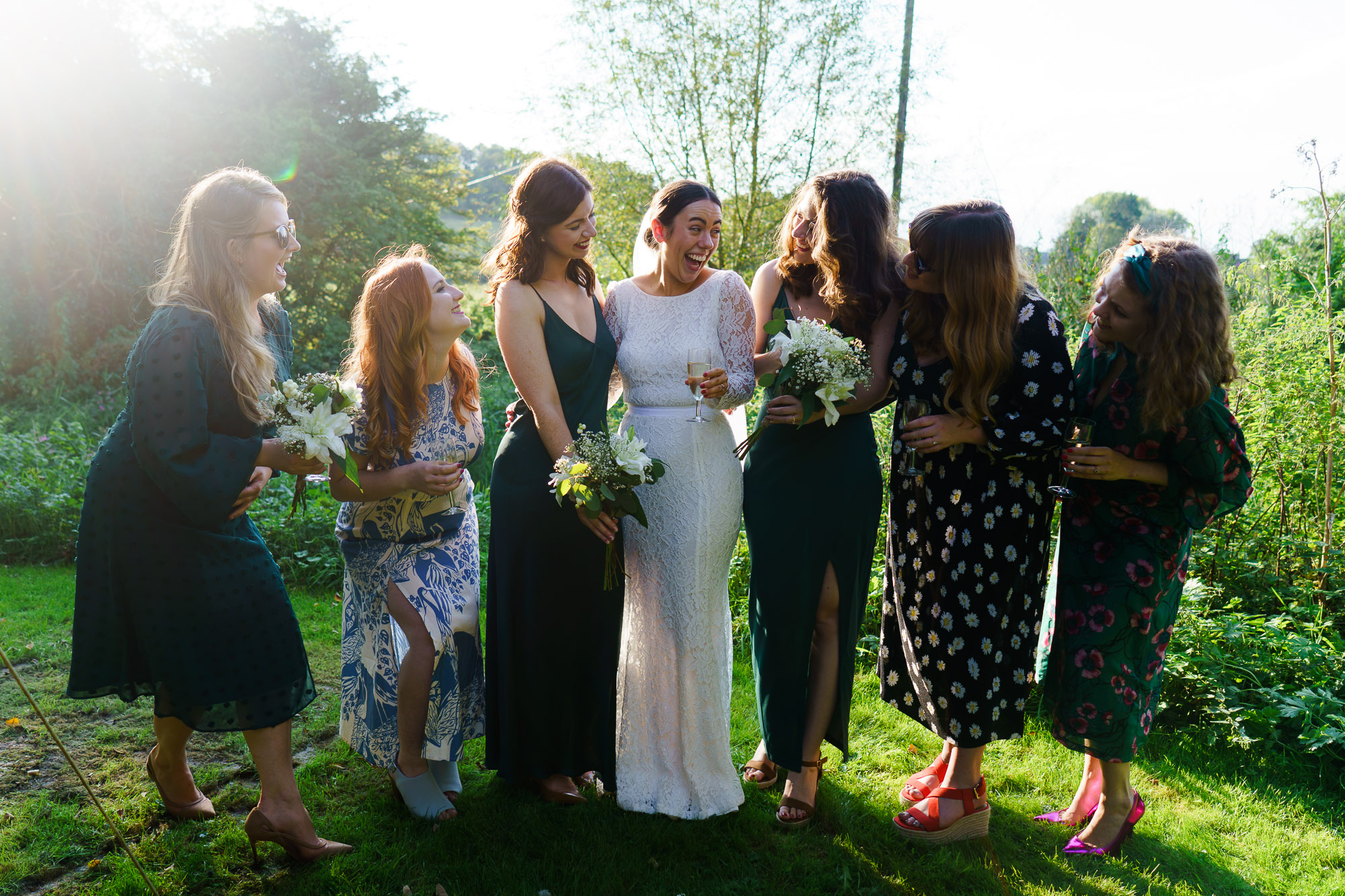 relaxed candid photo of bride and her friends
